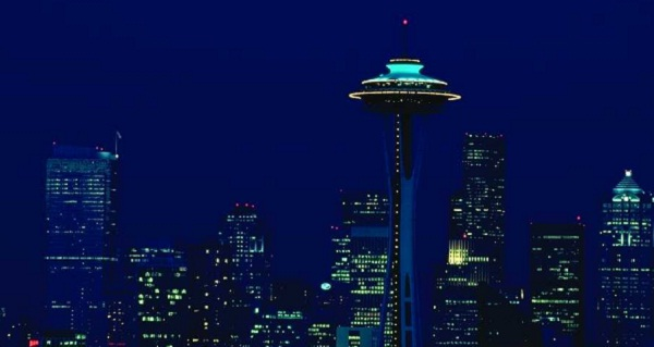 Stadtansicht Seattle in Washington bei Nacht